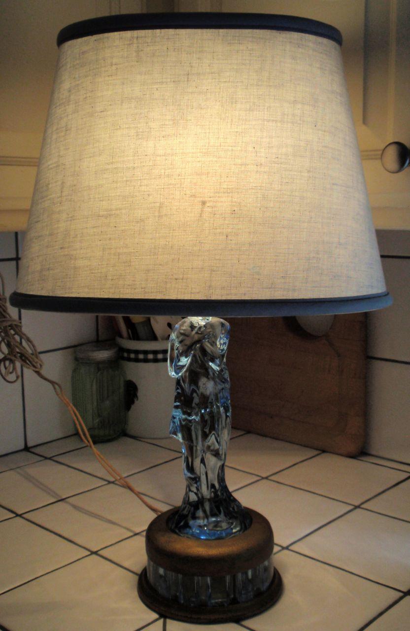 Rare 1940s Cambridge Blue Glass Figural Boudoir Lamp