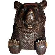 1890's Black Forest Bear Inkwell-Feet provide Pen Rest