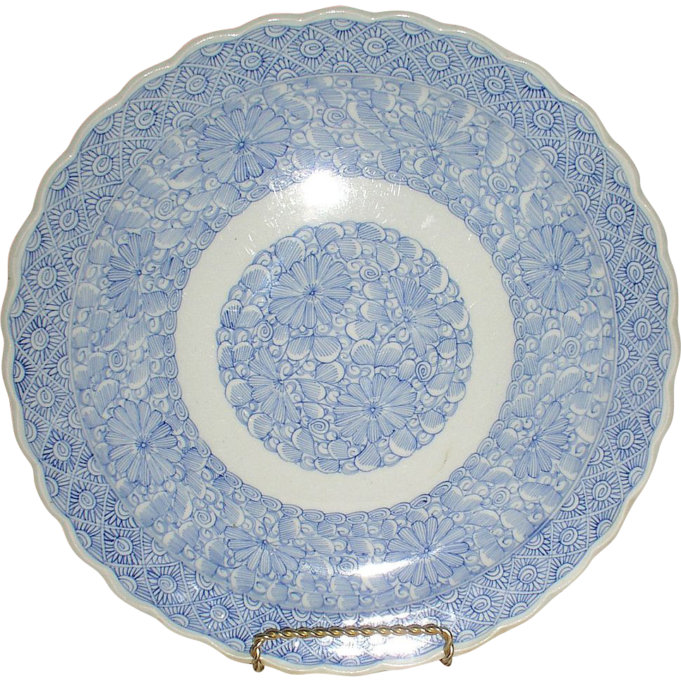 Antique Very Early Chinese Porcelain Blue & White Huge Centerpiece Bowl