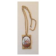 Vintage Necklace & Chain Victorian Couple on Porcelain