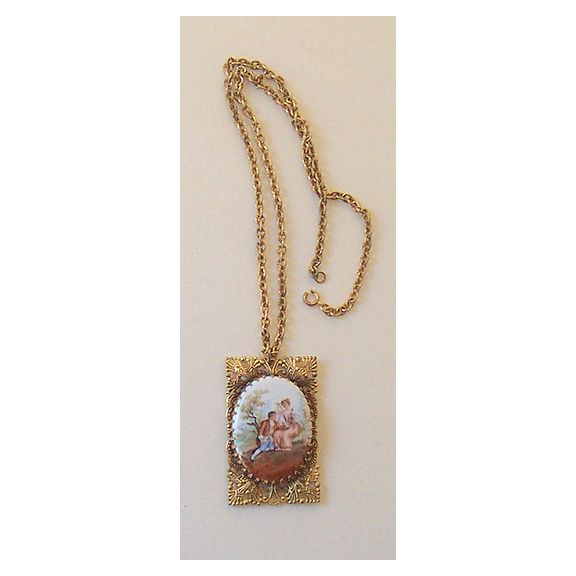 Vintage Necklace & Chain Victorian Couple on Porcelain