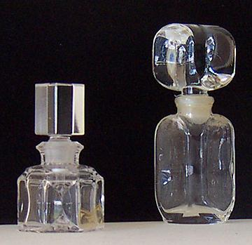 2 Vintage Crystal Perfume Bottles With Dauber And Stopper