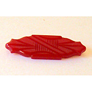 Original 1930's BAKELITE Hand Carved Cherry Red Pin