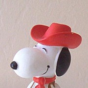 Vintage Rubber Snoopy As A Cowboy Toy