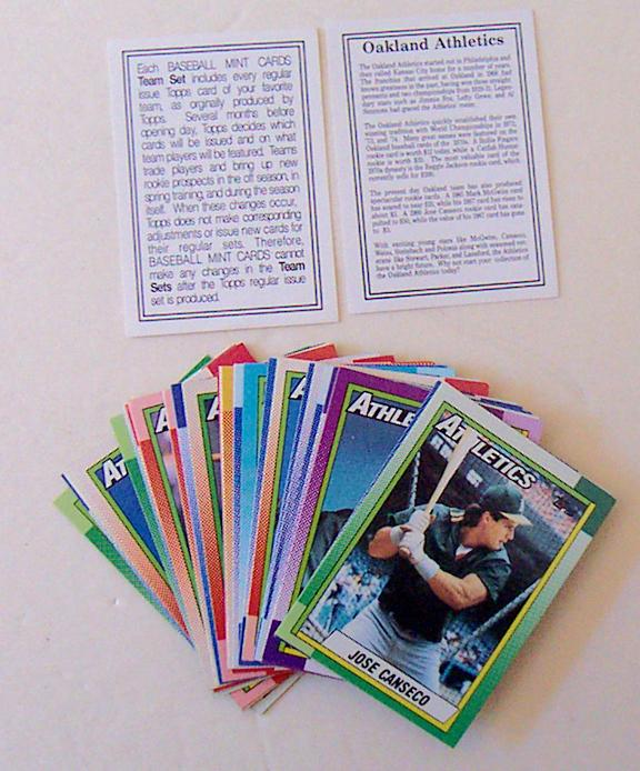 1987 Topps OAKLAND A'S team set w/McGwire, Canseco