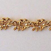 Signed Napier Gold Tone Leaves Link Bracelet