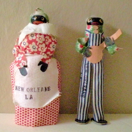 Pair Hand Made Black Dolls Souvenirs Of New Orleans