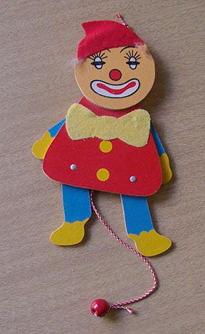 Vintage Wood Jumping Jack Clown