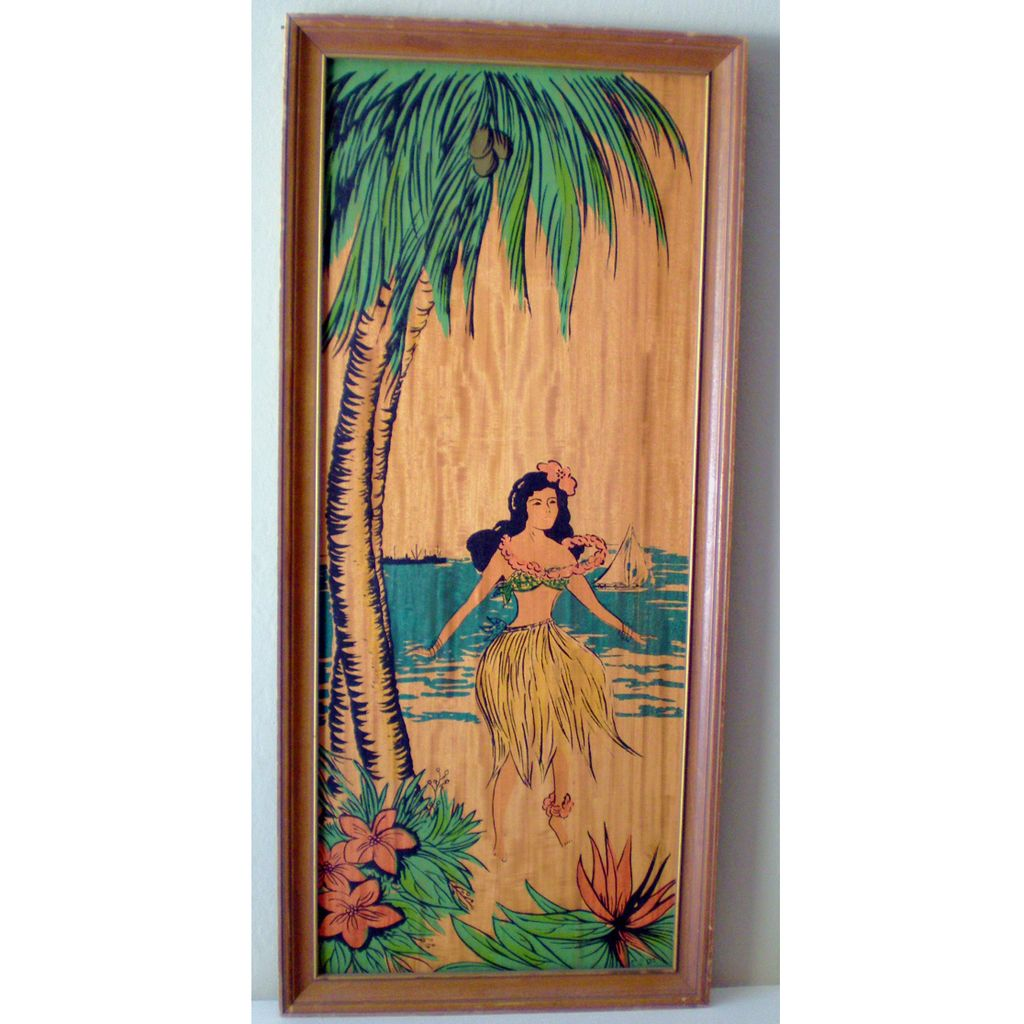 Large Unusual Framed Hawaii Hula Girl Picture