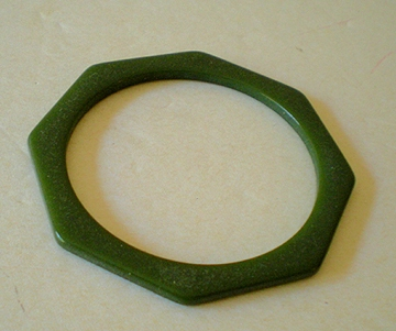 Hard To Find Green Octagon Bakelite Bracelet