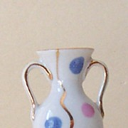 Small Vintage Porcelain Bud Vase With Polka Dots