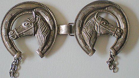 Vintage Western Vest Or Bridle Decoration Horse Heads