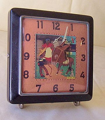 "Vintage Alarm Clock Black Americana ""Little Brown Koko"" Face"