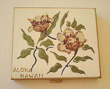"Vintage Hand Painted Powder Compact ""Aloha Hawaii"""