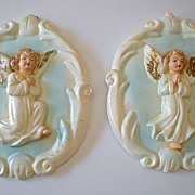 Pair Vintage Chalk Wall Plaques 3 Dimensional  Angels