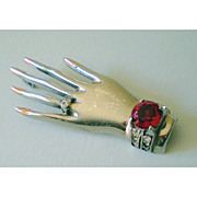 Fabulous Vintage Sterling Brooch of a Hand Wearing Jewelry