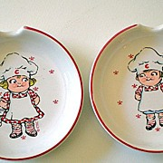 Pair (2) Vintage Campbell Kids Ceramic Spoon Rests