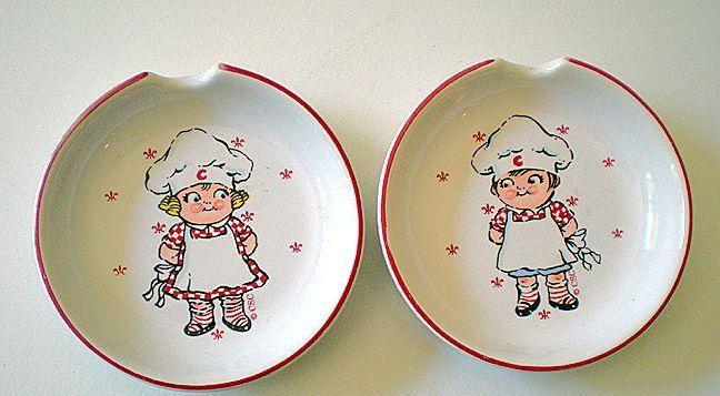 Pair (2) Vintage Campbell Kids Ceramic Spoon Rests
