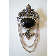 Signed Bergere Pin Brooch With Black Stone