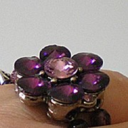 Unique Purple Rhinestone & Glass Bead Ring