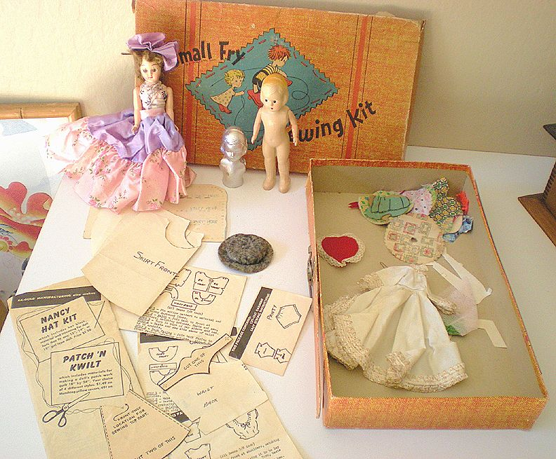 "Vintage ""Small Fry"" Child's Sewing Kit With Dolls"