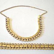 Stunning 1950's Rhinestone Bracelet & Necklace