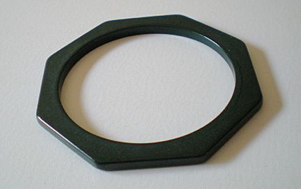 Rare Deep Forest Green Bakelite Octagon Cut Bracelet