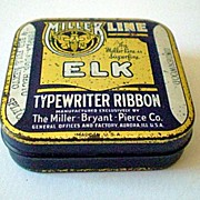 "Miller Line ""Elk"" Typewriter Ribbon Tin Underwood"