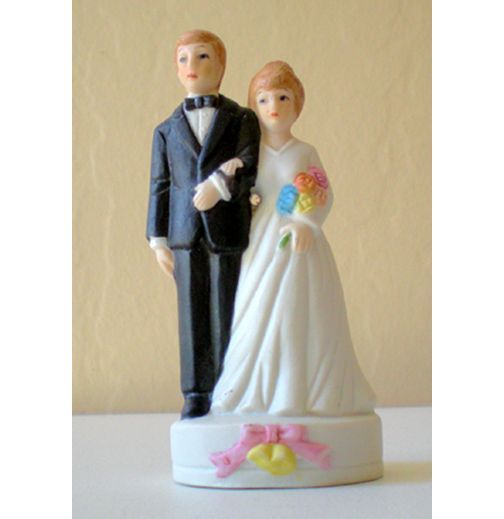 Vintage Bisque Wedding Cake Top Bride and Groom