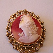 Large Faux Cameo Pin or Brooch