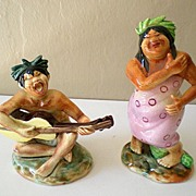Rare Pair Hawaiian Hula Figurines Signed Ucagco Japan