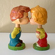 "Vintage Pair ""Kiss Me"" Kids Composition Head Bobbers"