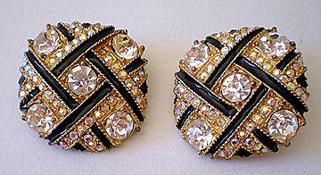HUGE Glitzy Vintage Rhinestone & Black Earrings