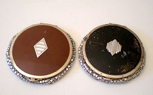 (2) Art Deco Enamel & Mesh Powder Compacts Evans