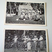 (2) Real Photo Postcards Hawaiian Hula Dancers rppc