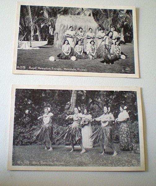 (2) Real Photo Postcards Hawaiian Hula Dancers rppc