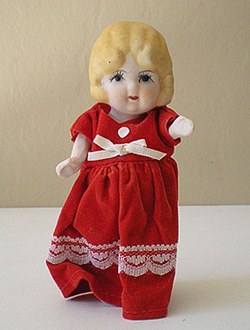 5 Inch Bisque Doll in Red Velvet Dress