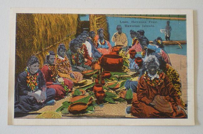Vintage Linen Postcard Hawaiian Luau