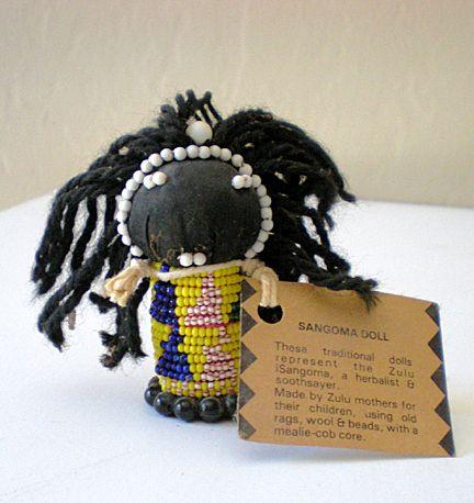 Small African Zulu Sangoma Doll Handmade