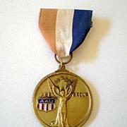 Large Vintage Swim Medal Medallion Pinback