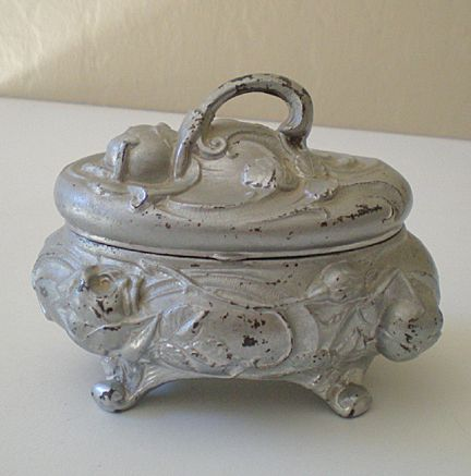 Vintage Heavy Metal Lidded Vanity Box