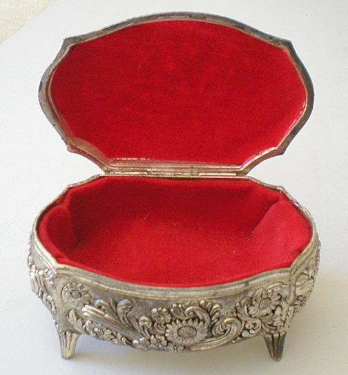 Vintage Metal Trinket Vanity Box With Hinged Lid