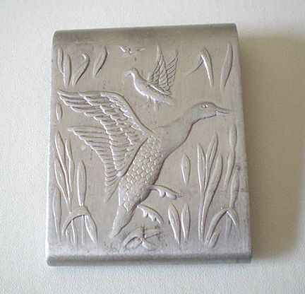 Vintage Pressed Tin Matchbook Holder