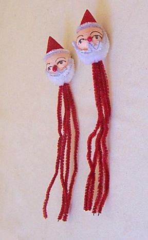 2 Vintage Pipe Cleaner Santa Claus Package Decorations