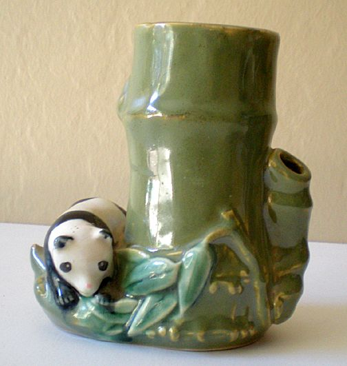 Vintage Ceramic Vase With Panda Bear and Bamboo