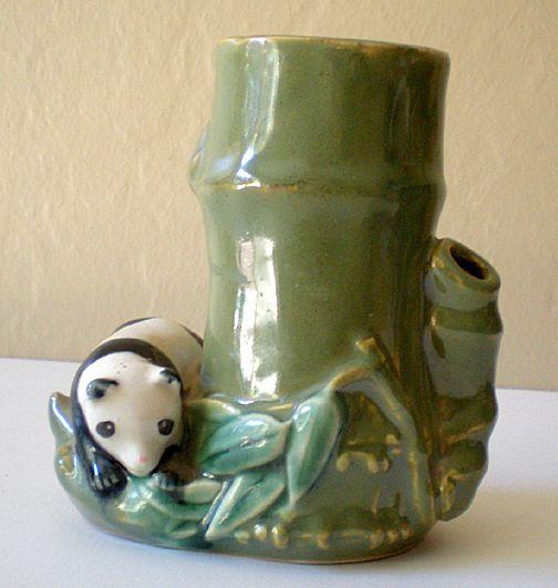 Vintage Ceramic Vase With Panda Bear and Bamboo