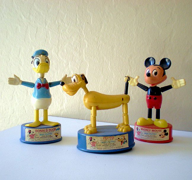 (3) Disney Character Maxi Push Puppets 1960's