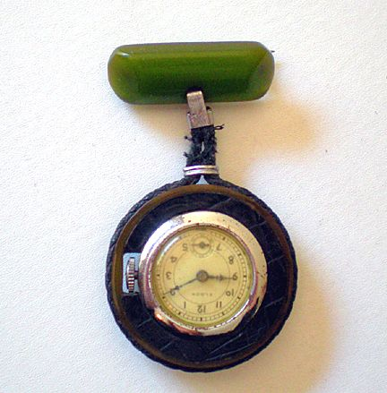 1930's Elbon Watch Pendant With BAKELITE Bar