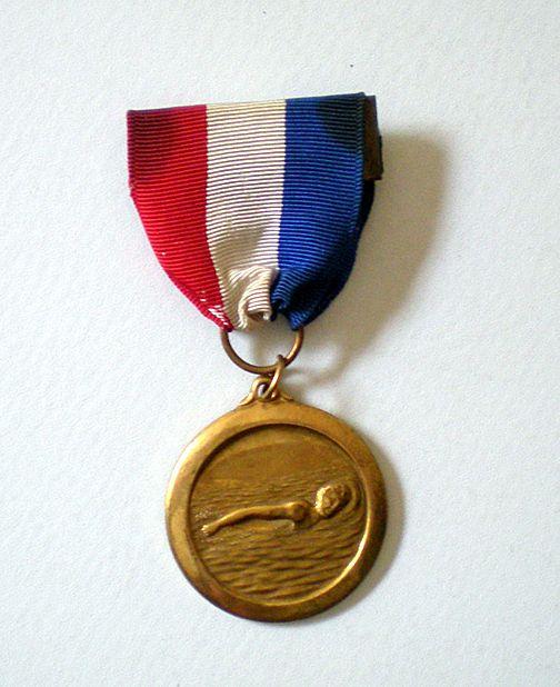 Vintage Swim Medal Award Ribbon Pinback