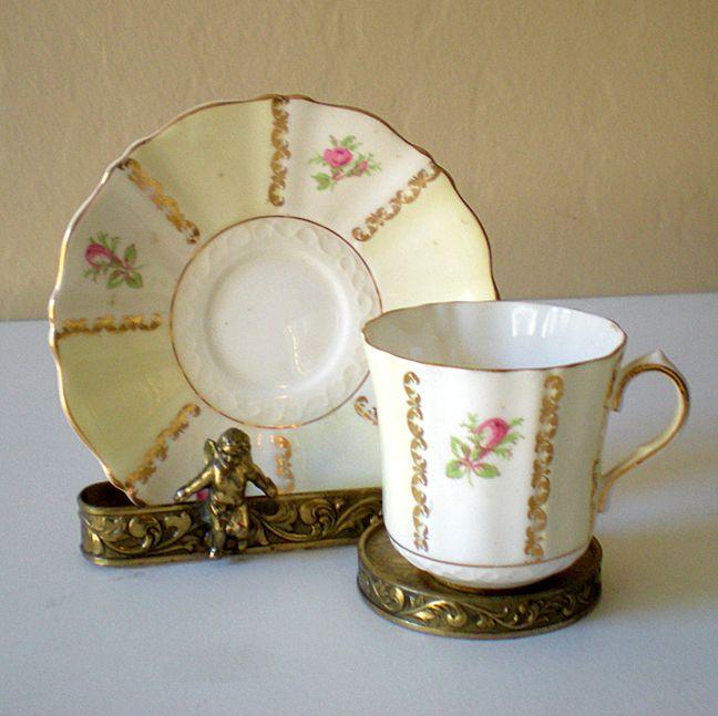 Vintage Signed Demi Tasse Size Cup & Saucer England
